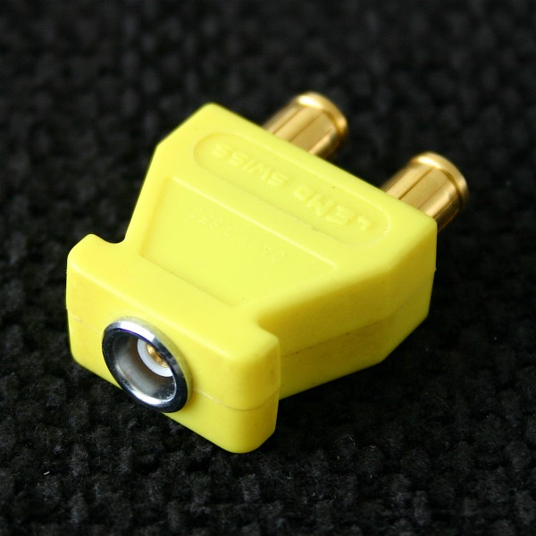 Lemo Triax Brückenstecker mit Abgriff, gelb, gebraucht