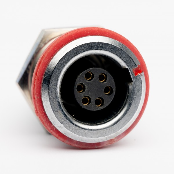 Lemo RG 1.B 6 polige Einbaubuchse, roter Markierungs-/ Isolationsring, gebraucht