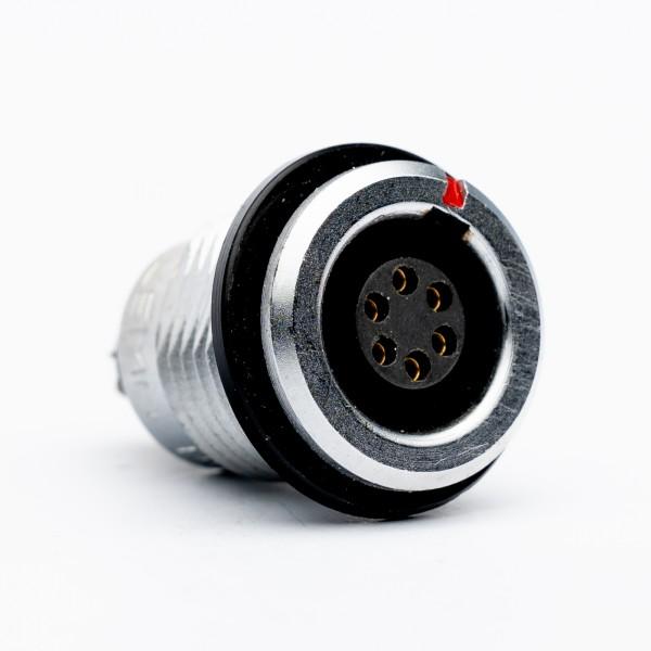 Lemo RG 1.B 6 polige Einbaubuchse, schwarzer Markierungs-/ Isolationsring, gebraucht