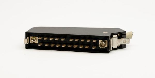 Siemens/ Tyco oder Amphenol Tuchel DIN 41622 20pol Messerleiste mit Metallhaube und Kodierstifte GEBRAUCHT